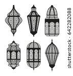 arabic or islamic lanterns set. ... | Shutterstock .eps vector #642282088