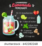 recipe of homemade lemonade on... | Shutterstock .eps vector #642282268