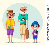 old couple and grandchild in... | Shutterstock .eps vector #642284074