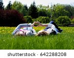 adult sisters in a park at...   Shutterstock . vector #642288208