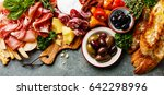 italian food ingredients ham ... | Shutterstock . vector #642298996