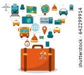 suitcase travel concept media... | Shutterstock .eps vector #642299914