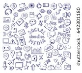 social media hand drawn icons... | Shutterstock .eps vector #642301180