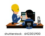 two engineers are discussing... | Shutterstock .eps vector #642301900