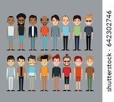 cartoon people men together... | Shutterstock .eps vector #642302746