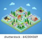 people in outdoor zoo park with ... | Shutterstock .eps vector #642304369