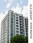 balcony of new modern turquoise ...   Shutterstock . vector #642307174
