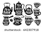 tea  coffee label set. vintage... | Shutterstock .eps vector #642307918