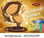 chocolate flavor sandwich... | Shutterstock .eps vector #642342349