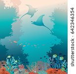 silhouette of two stingrays and ... | Shutterstock .eps vector #642346354