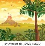 prehistoric green plants ... | Shutterstock .eps vector #642346630