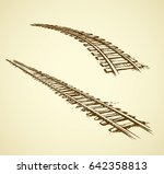 endless wooden ties and bend... | Shutterstock .eps vector #642358813