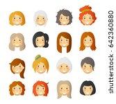 women with rosy cheeks. vector...   Shutterstock .eps vector #642360880