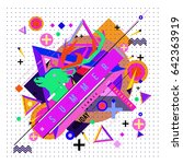 trendy vector summer cards... | Shutterstock .eps vector #642363919