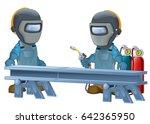 cartoon construction workers in ... | Shutterstock . vector #642365950