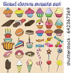 hand drawn sweets set. candy ... | Shutterstock . vector #642367369