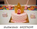 mastic cake birthday beautiful... | Shutterstock . vector #642376249