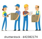 courier and delivery characters ... | Shutterstock .eps vector #642382174
