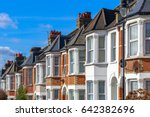 row of typical english terraced ... | Shutterstock . vector #642382696