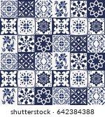 blue portuguese tiles pattern   ... | Shutterstock .eps vector #642384388