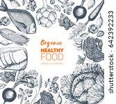 healthy food frame vector... | Shutterstock .eps vector #642392233