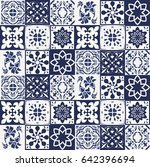 blue portuguese tiles pattern   ... | Shutterstock . vector #642396694