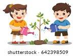 cute kids volunteers planted... | Shutterstock .eps vector #642398509