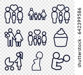 mom icons set. set of 9 mom... | Shutterstock .eps vector #642399586