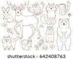 woodland animals elements set | Shutterstock .eps vector #642408763