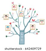 funny tree card with family... | Shutterstock .eps vector #642409729