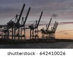 Container Cranes At Dusk   Near ...