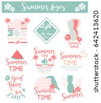 summer tropical logos set in... | Shutterstock .eps vector #642413620