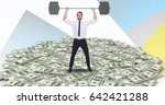 Small photo of Digital composite of Digital composite image of businessman lifting barbell on money