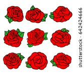 flowers roses  red buds and...   Shutterstock .eps vector #642424666