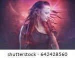 red haired elven fairy girl... | Shutterstock . vector #642428560