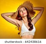 beautiful sexy brunette  in hat ... | Shutterstock . vector #642438616