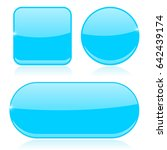blue buttons. round  square and ... | Shutterstock . vector #642439174