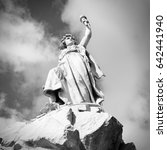 Small photo of Statue of liberty in Remedios, Cuba. Freedom and justice allegory. Black and white vintage style.