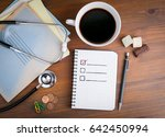 book with blank checklist on... | Shutterstock . vector #642450994