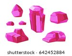 pink crystals white background...