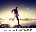 running man on beach. sportsman ...   Shutterstock . vector #642461740