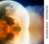 Fantastic glowing sphere in sky with reflection in water - stock photo