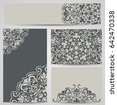 grey cards with floral... | Shutterstock .eps vector #642470338