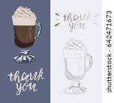 cream coffee illustration. hand ... | Shutterstock .eps vector #642471673