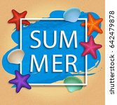 vector summer frame with shells ... | Shutterstock .eps vector #642479878