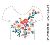 embroidery patch flowers...   Shutterstock .eps vector #642483196