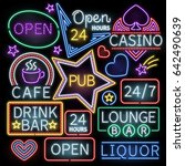 neon bar illumination signs.... | Shutterstock . vector #642490639