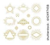 vintage circle sunburst line... | Shutterstock . vector #642497458