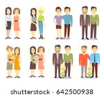 set of gay lgbt happy families. ... | Shutterstock . vector #642500938