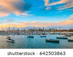 melbourne city skyline viewed... | Shutterstock . vector #642503863